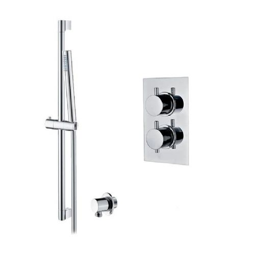 Abacus Essentials Thermostatic Concealed Slimline Shower Head With Shower Kit - Chrome